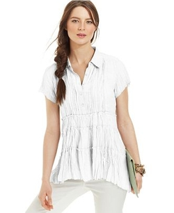 NY Collection  - Pleated Lace-Trim Short-Sleeve Blouse
