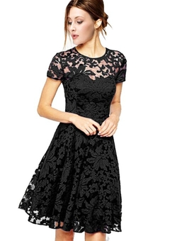 Popbop - Floral Lace Short Sleeve Dress