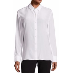 Rag & Bone - Hayden Silk Rib-Knit Trim Shirt