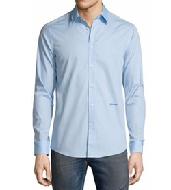 Just Cavalli - Solid Long-Sleeve Woven Dress Shirt