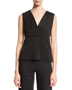 Donna Karan - Sleeveless V-Neck Peplum Top