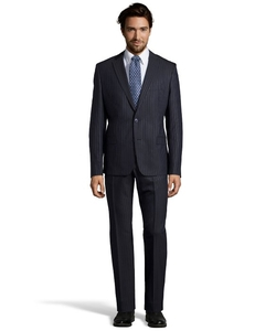 Versace  - Wide Pinstriped Suit Two Piece Wool Suit