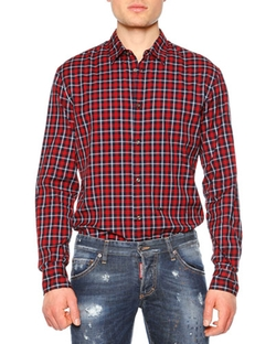 DSquared2   - Plaid-Check Long-Sleeve Sport Shirt