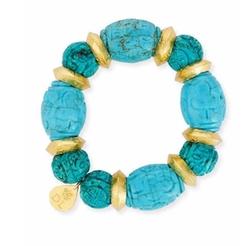 Devon Leigh  - Carved Turquoise Bead Bracelet