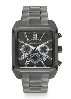 Saks Fifth Avenue  - Stainless Steel Chronograph Square Dial Watch