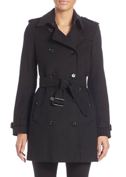Burberry London - Kensington Black Cashmere Trench Coat