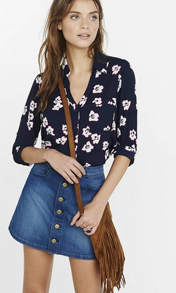 Express - Outlined Flower Print Portofino Shirt