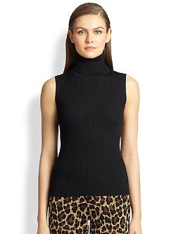 St. John  - Ribbed Knit Turtleneck Shell