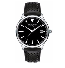 Movado - Heritage Stainless Steel Perforated Leather Strap Watch