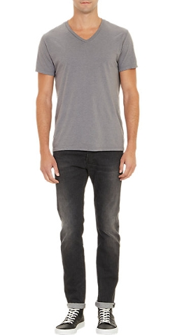 Barneys New York - Heather V-Neck T-Shirt