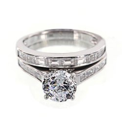 JCPenny - DiamonArt Cubic Zirconia Sterling Silver Baguette Bridal Ring Set