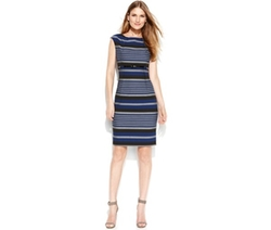 Calvin Klein  - Cap-Sleeve Belted Striped Sheath Dress