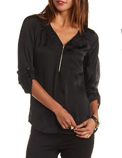 Charlotte Russe - Washed Satin Zip-up Tunic Top