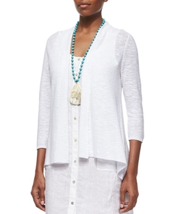 Eileen Fisher - 3/4-Sleeve Organic Linen Cotton Cardigan