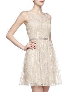 Aidan Mattox  - Beaded Lace Illusion Dress, Champagne