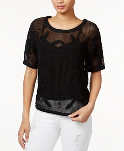 Bar III  - Embroidered Mesh Top