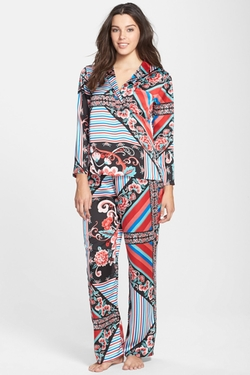Josie - Valentina Mixed Print Satin Pajama Set