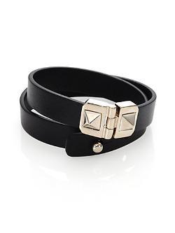 VALENTINO - Leather Double-Wrap Bracelet
