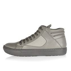 River Island - Grey Textured High Top Sneakers