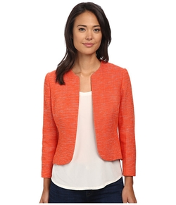 Anne Klein - Collarless Tweed Jacket