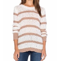Michael Stars - Long Sleeve Striped Crew Neck Pullover
