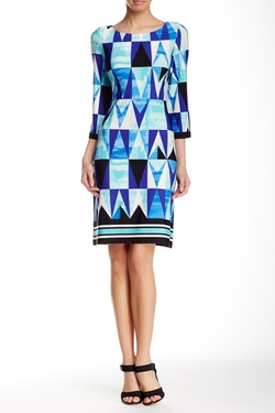 Eliza J - Geometric Print Shift Dress