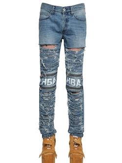 HBA Hood By Air   - Shredded Zipped Denim Jeans