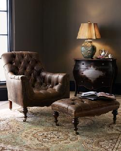 Horchow - Tufted Leather Chair & Ottoman