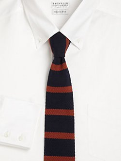 Brunello Cucinelli - Striped Knit Cotton Tie
