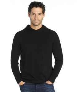 Harrison - Black Cashmere Knit Elbow Patch Pocket Hooded Sweater
