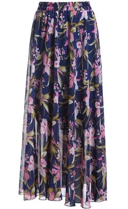 Romwe - Floral Chiffon Skirt