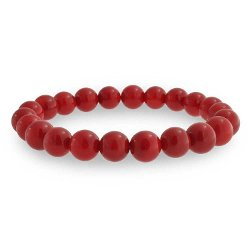 Bling Jewelry - Bling Jewelry Gemstone Bead Red Coral Stretch Bracelet 9mm