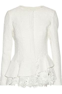 Oscar De La Renta -  Lace-Trimmed Cotton-Blend Tweed Jacket