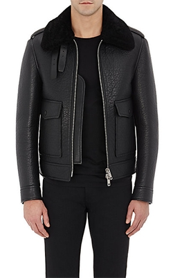 Burberry XO Barneys New York  - Shearling Aviator Jacket