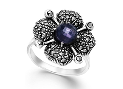 Genevieve & Grace  - Hematite and Purple Glass Flower Ring