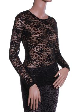 Absolute Clothing - Sexy Round Neck All Over Lace Long Sleeves Shirt Top