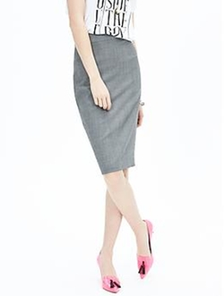 Banana Republic - Gray Lightweight Wool Pencil Skirt