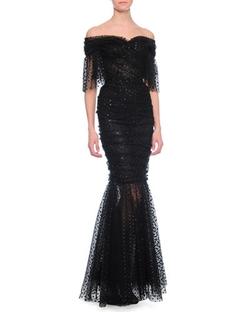 Dolce & Gabbana - Flutter-Sleeve Swiss-Dot Gown