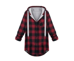 Yhting - Cotton Blended Hooded Plaid Outwear Jacket