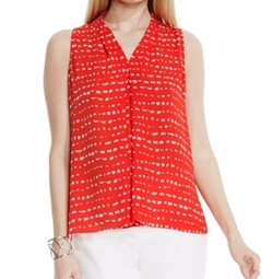 Vince Camuto - Print Sleeveless Pleat V-Neck Blouse