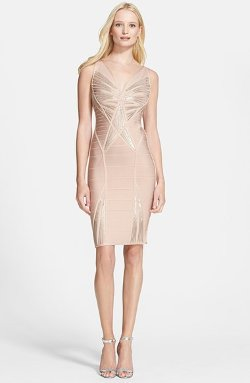 Herve Leger  - Sequin Embellished V-Neck Bandage Dress