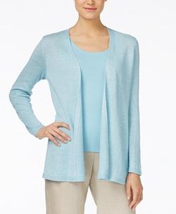Eileen Fisher  - Long-Sleeve Open-Front Linen Cardigan