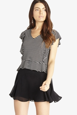 BCBGeneration - Striped Ruffle-Hem Top