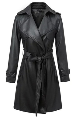 Jingyang - Faux Leather Long Trench Coat