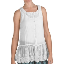 True Grit  - Cutout Cotton Border Button Tank Top
