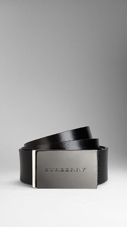 Burberry - Leather Plaque Buckle Belt