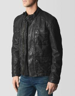TRUE RELIGION - LEATHER UTILITY MENS JACKET