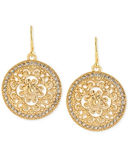 Hint Of Gold - Crystal Filigree Drop Earrings