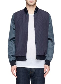 Paul Smith - Satin Sleeve Cotton-Ramie Bomber Jacket
