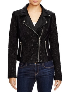 Bagatelle - Lace And Faux Leather Moto Jacket